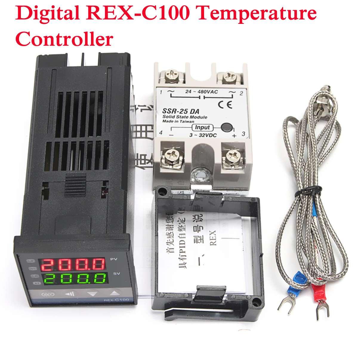 1 satz Digital 220 v PID REX-C100 Temperatur Controller + 25A SSR + K Thermoelement Sonde Kabel K Sensor