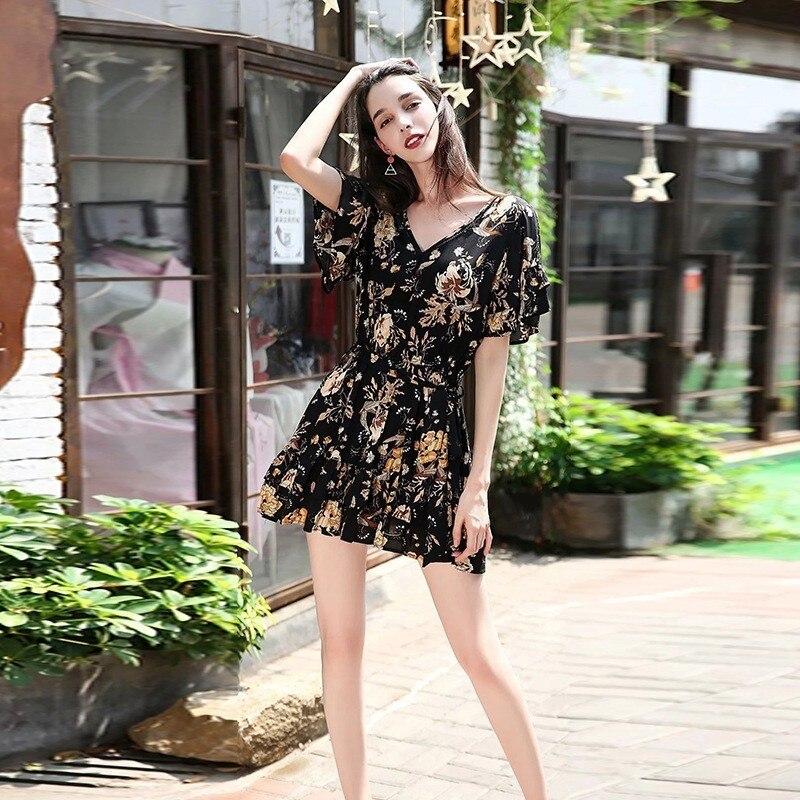 ZOUHIRC nouveau été Mini robe noir imprimé col en v une ligne robes en coton bohème robes de plage casual femmes robe vestido