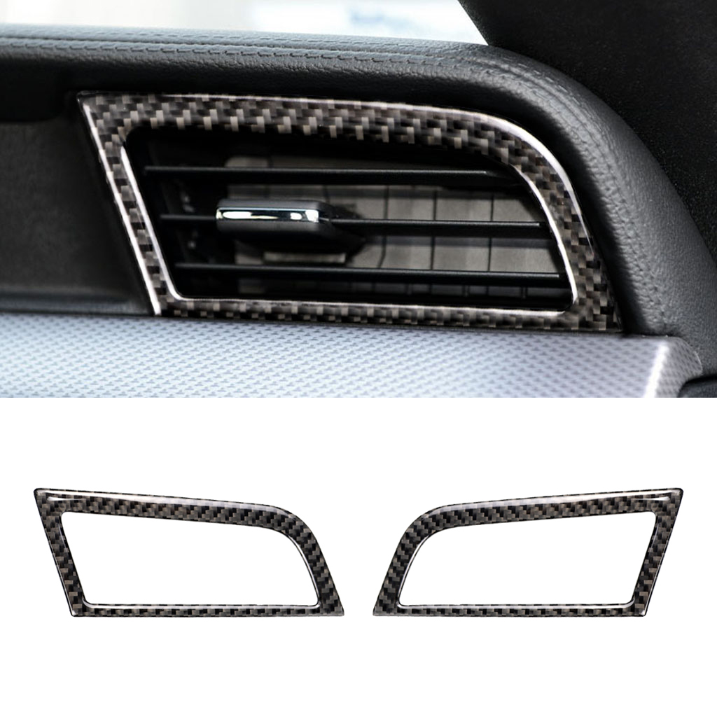 Image 2 - For Ford Mustang 2015 2016 2017 2pcs Carbon Fiber Car Interior Side Air Condition Air Vent Outlet Decor Cover-in Interior Mouldings from Automobiles & Motorcycles
