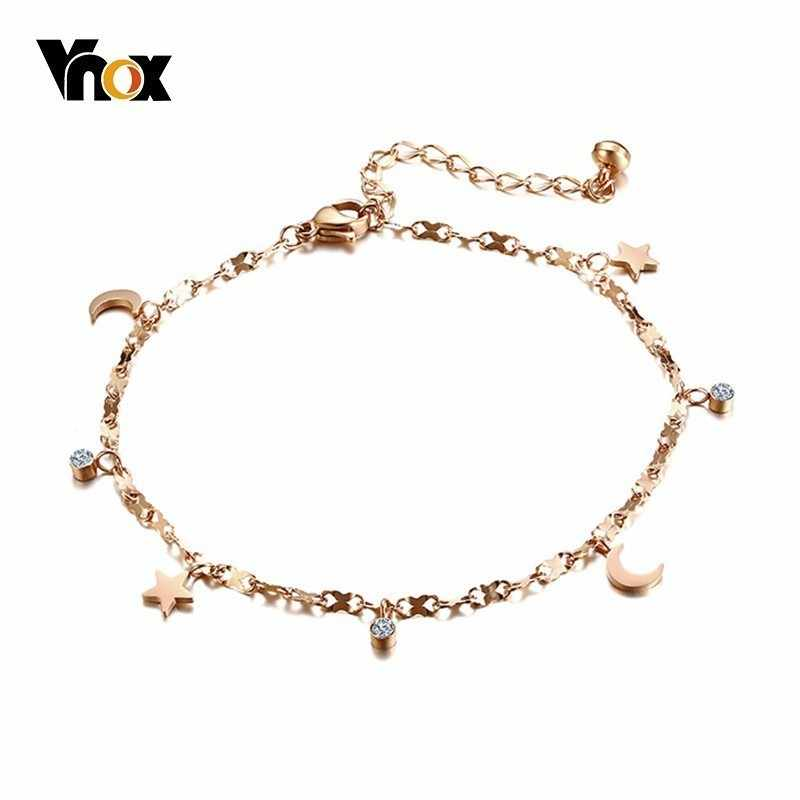 Vnox Elegant Rose Gold Color Anklet for Women Star Moon CZ Stones Charm Stainless Steel Holiday Female Jewelry Adjustable Length