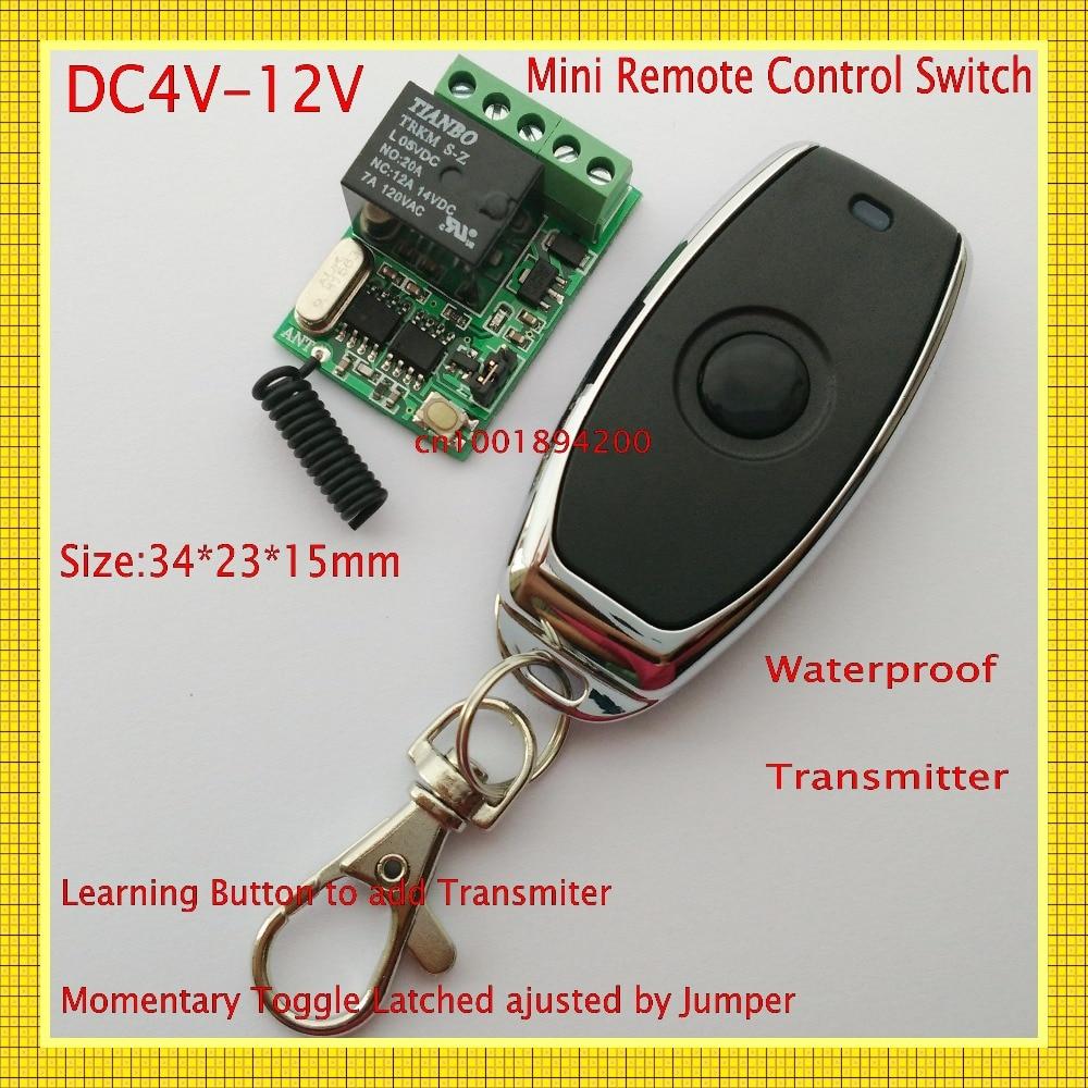 Interruptor remoto largo 4.5 v 5 v 6 v 7.4 v 9 v 12 v 10a do relé mini interruptor de controle sem fio rf rc nenhum com nc rxtx