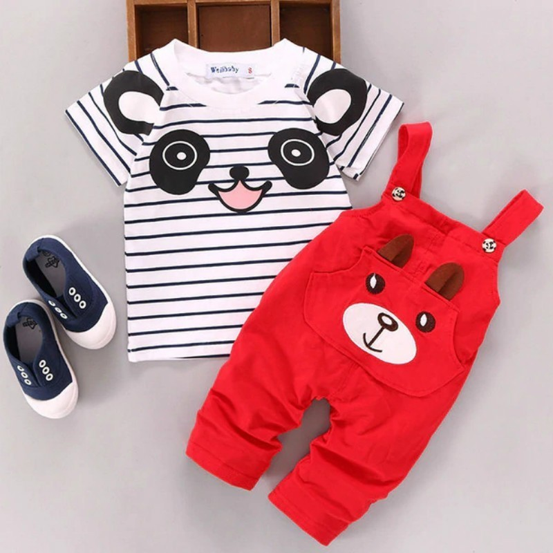 Kids Suit Baby Summer 0-2years Girls' Children's Cotton Cartoon New And Short Wear Boy's