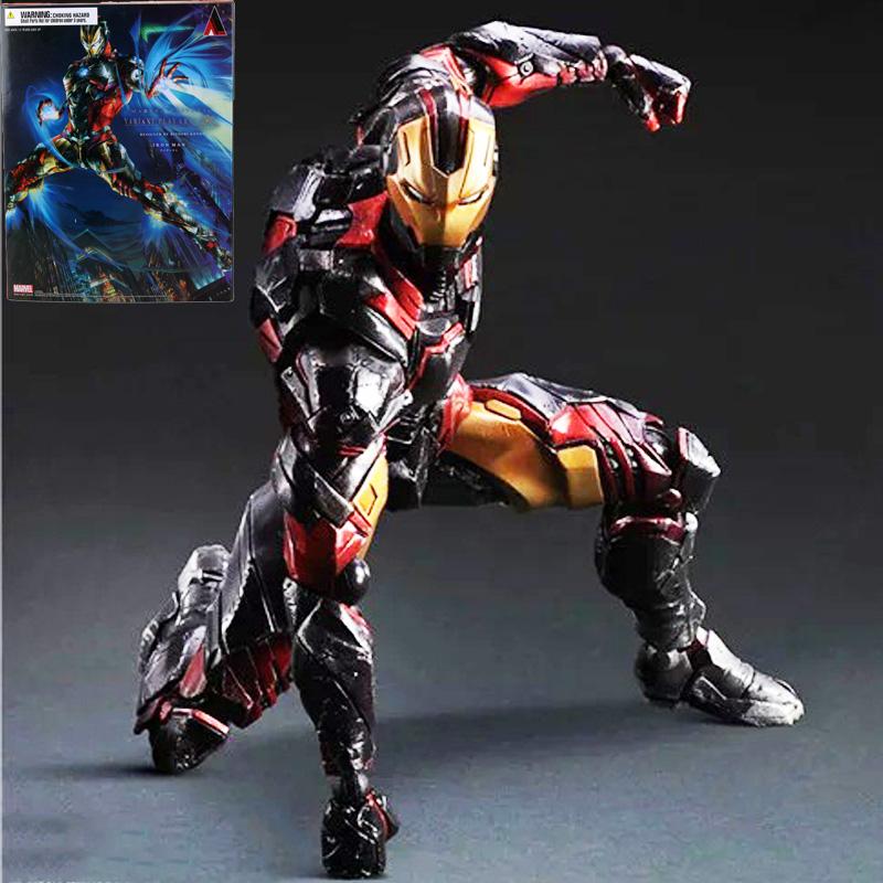 Marvel Comics Play Arts Kai  Marvel 25cm Iron Man Super Hero Ironman PVC Action Figures toys Anime figure Toys For Kids children
