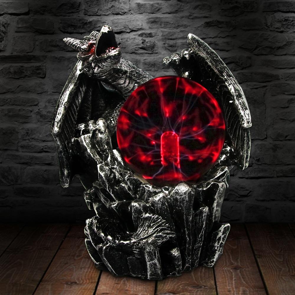Gothic Saurian Plasma Ball Decorative Lighting Power Electric Tesla Statue Resin Fingurine Night Light Desk Lamp