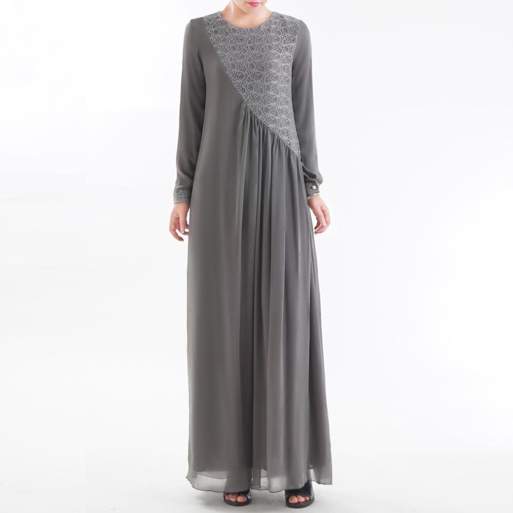 Abaya Muslim Women Long Dress Lace Mesh Patchwork Maxi Robe Turkey Ethnic Style Full Cover Islamic Clothing Turkey Gown Fashion