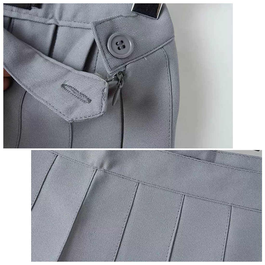 2018 новые весенние плиссированные юбки с высокой талией Harajuku джинсовые юбки однотонная трапециевидная Матросская юбка больших размеров японская школьная форма