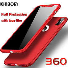 Kinbom 360 Degree Full Phone Case For IPhone 6 6s 7 8 Plus X XS MAX Protective PC Hard Cases 5 5s Se With Film