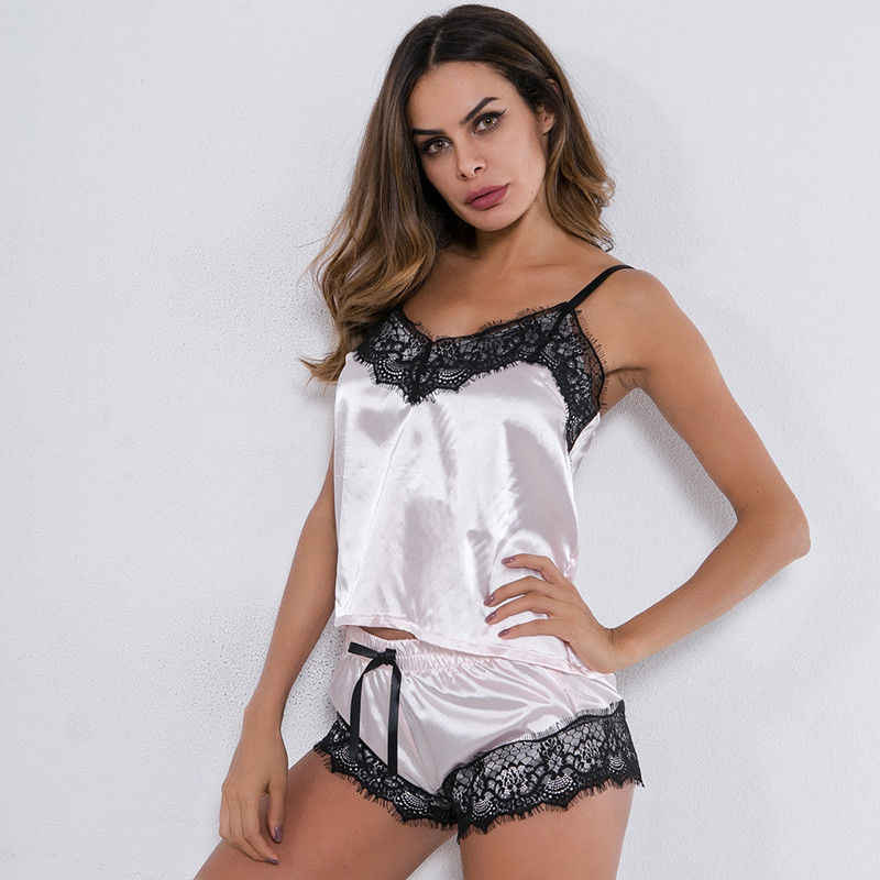 ... Women Ladies Satin Lingerie Underwear Babydoll Sleepsuit Nightwear  Sleepwear Pajama Sets Pink White Black ... 5e50af221
