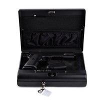 Portable Gun Safes Fingerprint Safe Box Solid Steel Security Key Lock Safes For Money Valuables Jewelry Pistol Box Mini Car Safe