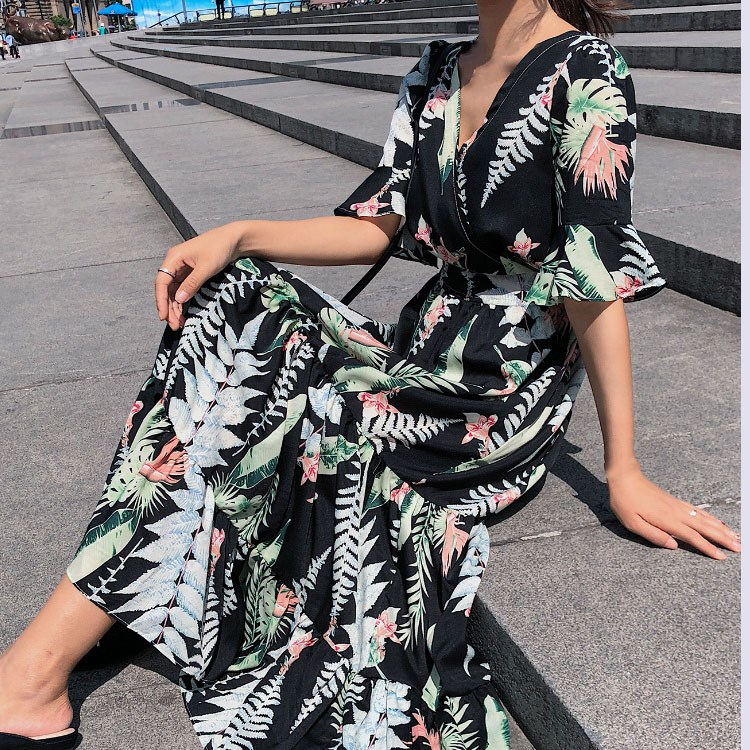 Female Summer Dress 2019 New Korean Fashion Women Short Sleeve Floral Print Long Chiffon Dresses in Dresses from Women 39 s Clothing