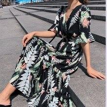 Female Summer Dress 2019 New Korean Fashion Women Short Sleeve Floral Print Long Chiffon Dresses