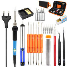Eu Plug 220V 60W Adjustable Temperature Electric Soldering Iron Kit+5Pcs Tips Portable Welding Repair Tool Tweezers Hobby Knif