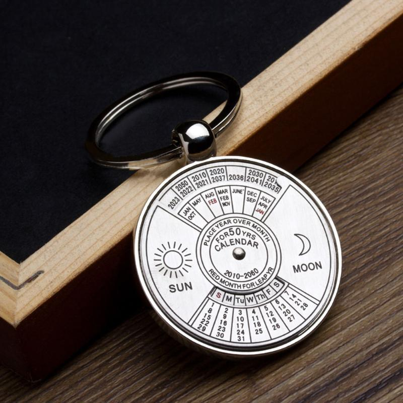 Mini Perpetual Calendar 2019 Keychain Unique Metal Keyring Sun Moon Carving 2010 To 2060 Clock Calendar Key Ring Creative Gifts