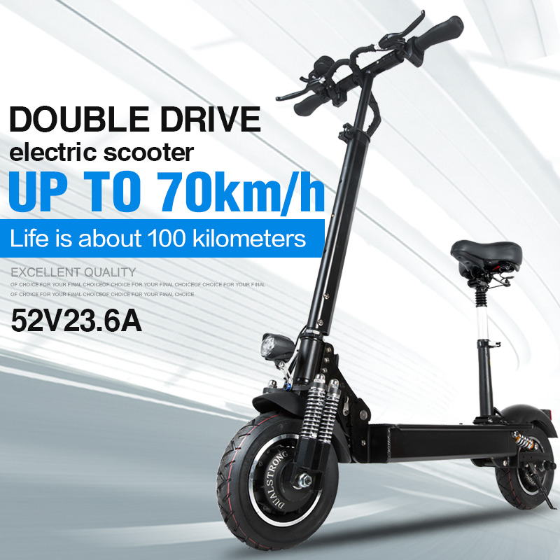 Janobike electric scooter double drive 52V 2000W with seat 10 inch road tire folding electric motorcycle