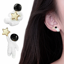 Cute Women Girl Creative Asymmetrical White And Black Astronaut 1Pair Starry Sky Space Star Earrings Valentines Gift