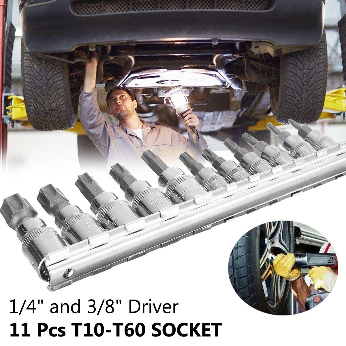 Pcs 1/4 3/8 Polegada 11 Torx Hex Estrela Conjunto de Bits de Segurança Inviolável Bit Driver Chave De Fenda Mão Ferramenta Conjunto de Soquete bits T10 para T60