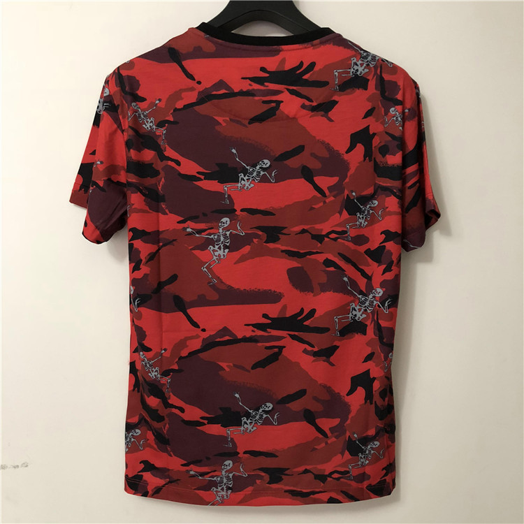 2019 New Fashion 19ss New Designer Arrival Print Red Camouflage Skull Tee T Shirt Short Sleeve Cotton Brand For Men - 2