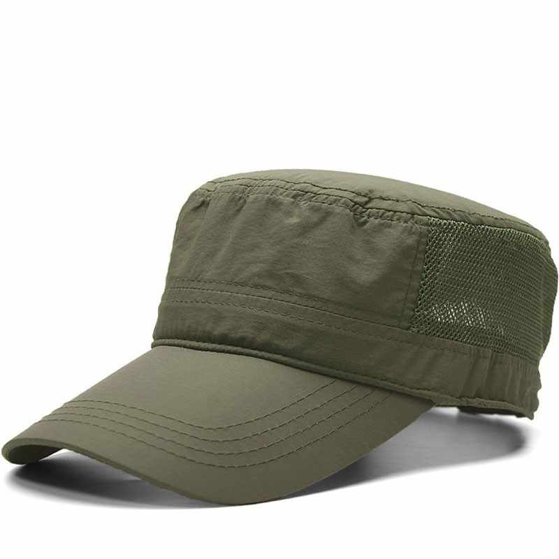 Dad Outdoors Long Peaked Army Caps Male Thin Fabric Dry Quickly Mesh Flat Top Hat Big Hat Man Plus Size Baseball Cap 55-61cm