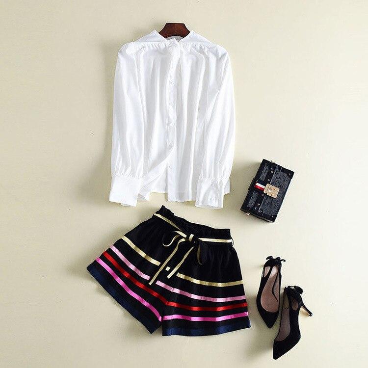 Deux-pièces ensemble 2018 automne femmes à manches longues chemise blanc Blouse + rayé large jambe courte pantalon ensemble dame décontracté costumes courts Boho