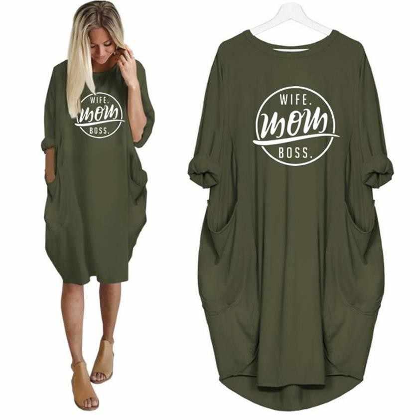 2019 ファッション Tシャツ女性のポケット妻ママ BOSS 文字プリント Tシャツプラスサイズグラフィック Tシャツ女性のトップスショルダー