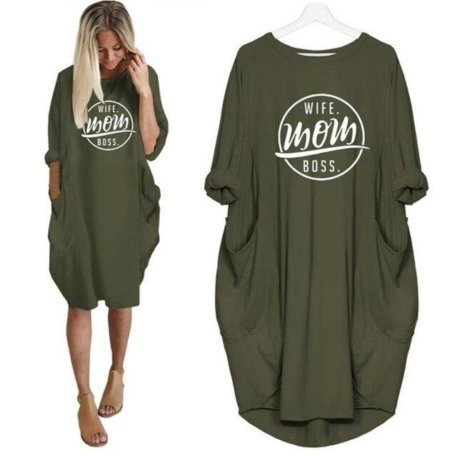 T-Shirt 2019 de Moda para As Mulheres Bolso MÃE ESPOSA PATRÃO Letras Imprimir Camiseta Plus Size Tops T do Gráfico Mulheres Fora Do bolsa de ombro
