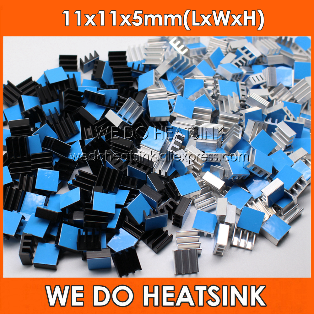 WE DO HEATSINK 10pcs Aluminum Heatsink 11*11*5mm Electronic Chip Radiator Cooler DIY With Thermal Double Sided Adhesive Tape