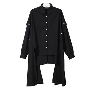 Image 5 - [EAM] 2020 New Spring Lapel Long Sleeve Black Irregular Hem Button Split Joint Loose Big Size Shirt Women Bouse Fashion JG725