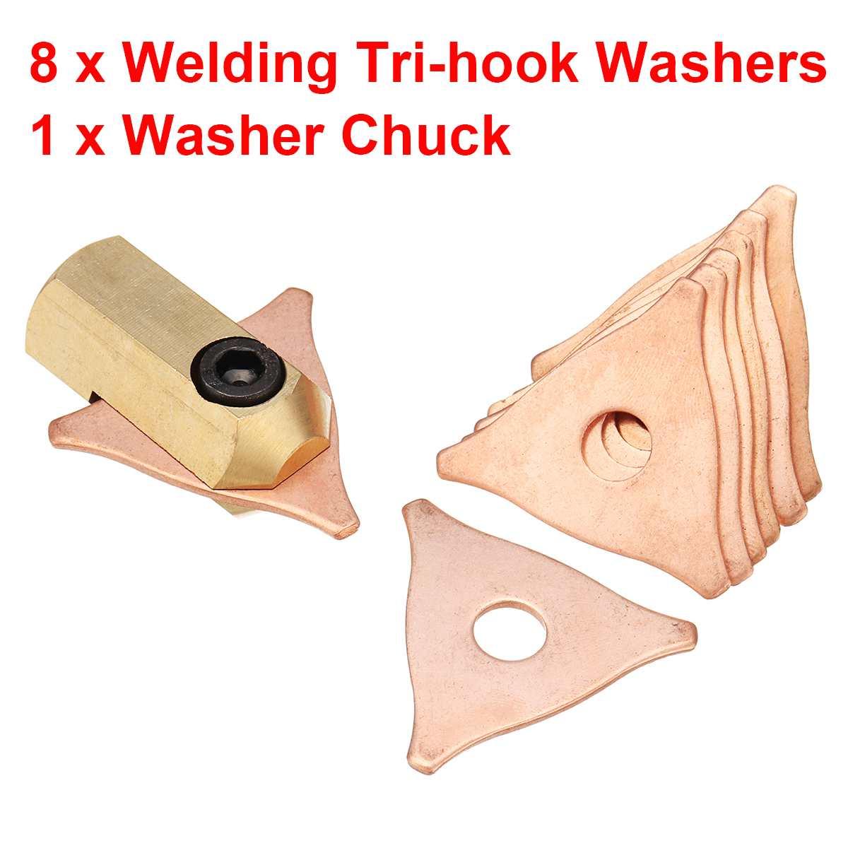 9 pçs/set tri máquina de lavar gancho 3 ponto eletrodo chuck dent extrator dent puxando o sistema de solda a ponto do parafuso prisioneiro uni observador triângulo kit almofadas