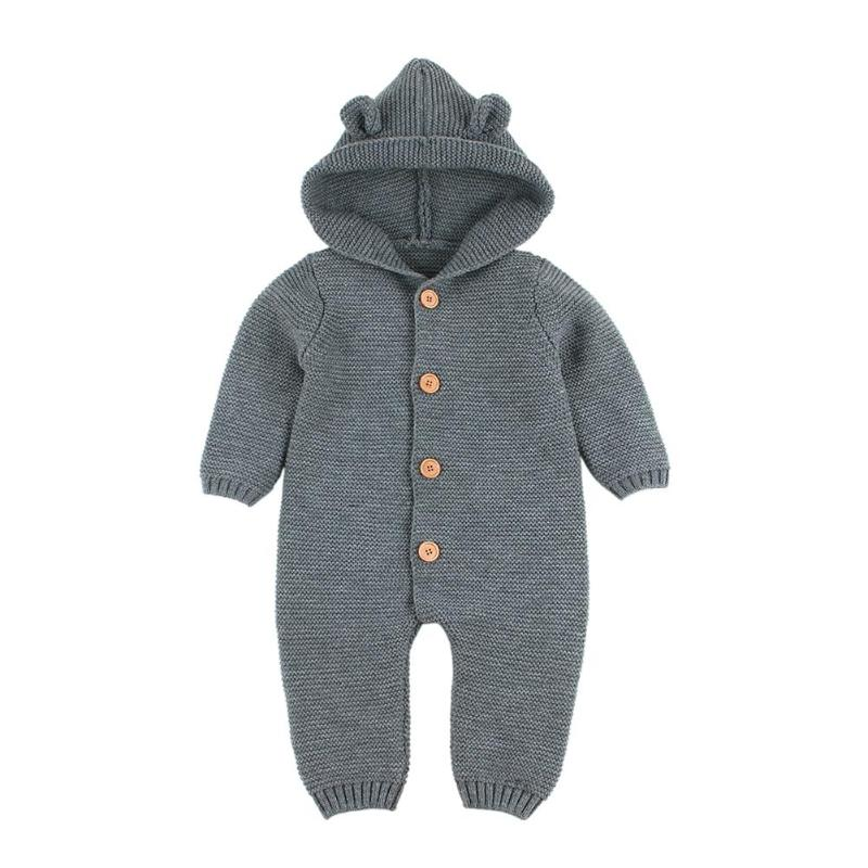 Newborn Boy Girl Knitted Hooded Jumpsuit Baby Long Sleeve Button Rompers Solid Color Winter Warm Kids Clothes