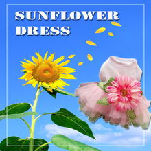 Pink Sunflower Dog Dresses For Small Dogs Chihuahua Summer Puppy Party Dress Pomeranian Princess Tutu Shih Tzu Yorkshire Clothes