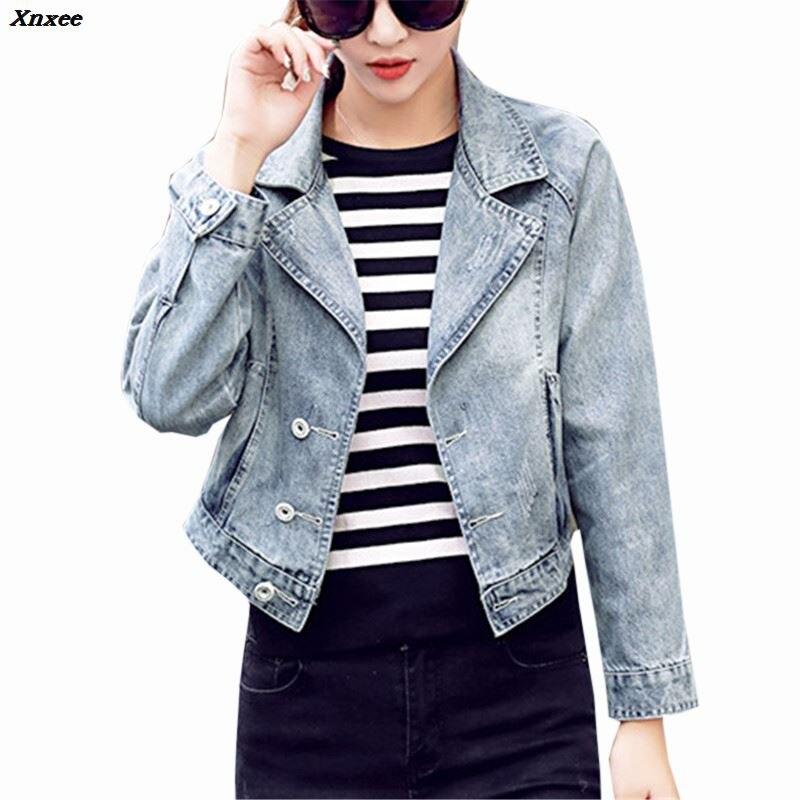 Denim   Jacket   Women Short Jeans Overcoat Ladies   Basic     Jackets   Tops Turn Down Collar Slim Jeans Coats Tops For Women High Quality