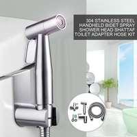 Stainless Steel Handheld Toilet Bidet Tap Set Hygienic Shower Portable Bidet Sprayer Bathroom Toilet Seat Bidet 2Modes Adaptor