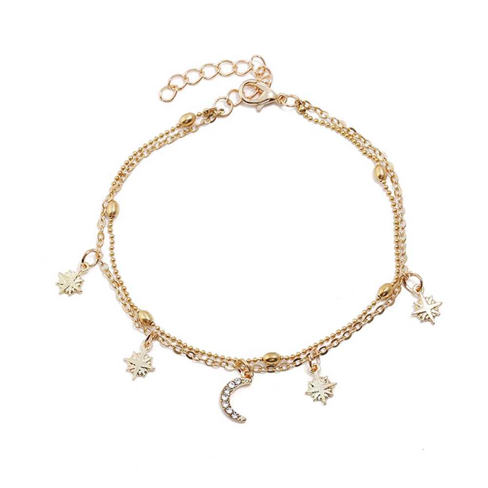 スタイリッシュな女性多層スタームーンペンダントビーズ合金ゴールド色アンクレットチェーン足の宝石魅力的なギフト