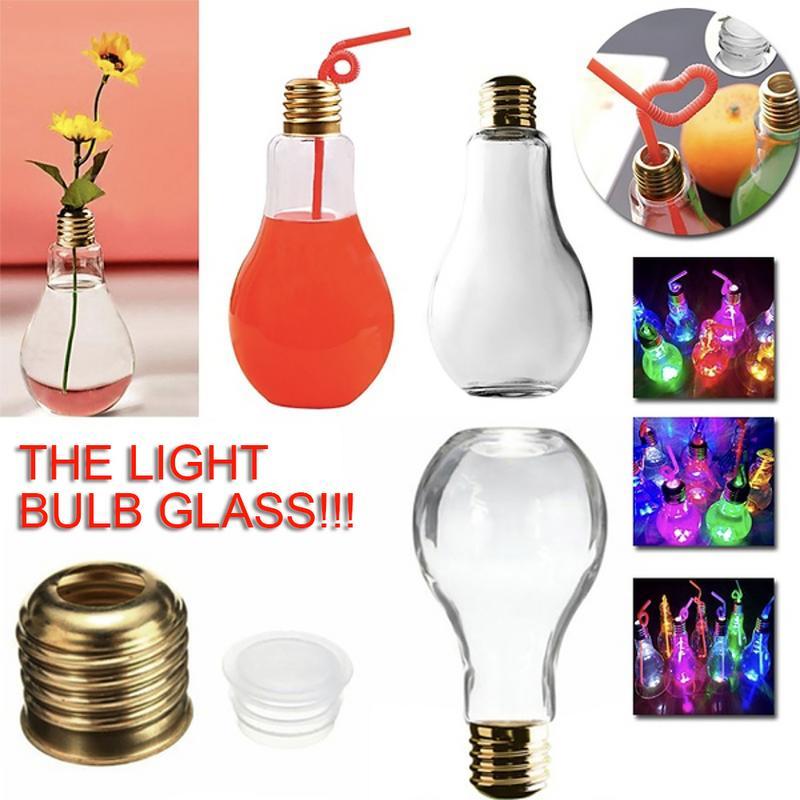 Innovative Light Bulb Drink Juice Bottles Cute Juicer Milk Summer Water Bottle (Random Light Color Delivery) Novelty Light