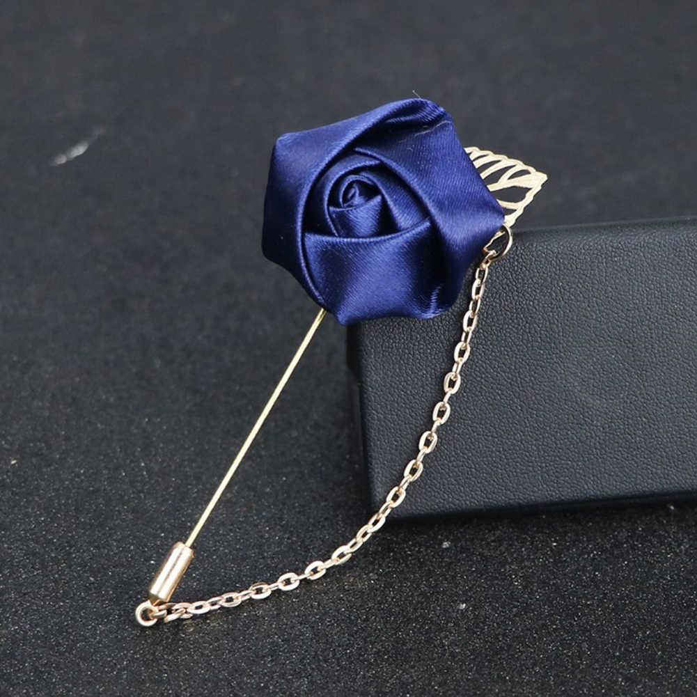 Garnitur męski Rose Flower broszki szpilki tkanina płócienna wstążki z kokardką 19 kolorów broszka dla kobiet i mężczyzn odzież akcesoria do sukni
