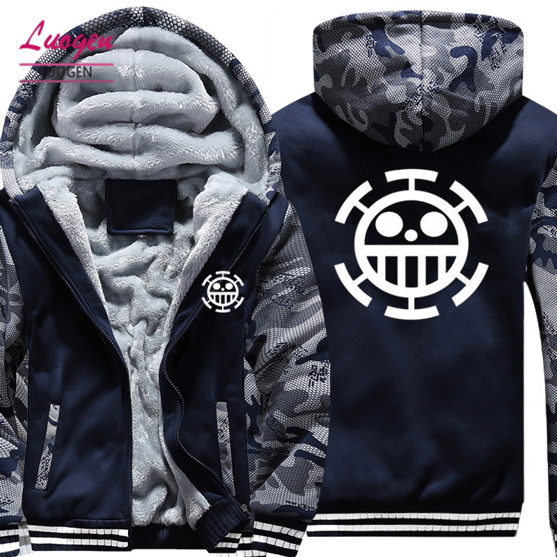 USA SIZE Men Hoodies, Sweatshirts Anime ONE PIECE Printed Zip up Jackets Casual Coats Winter Thicken Fleece Super Warm Tops