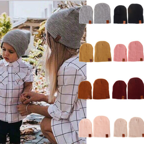 2019 Brand New Family Matching Winter Baby Kids Dad Mom Knitted Crochet Beanie Warm Hat Cap Solid Color All-match Caps Gifts