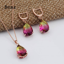 Irina New True 585Rpse Gold Water Drop Tourmaline Color Natural Zircon Long Dangle Earrings  Sets Women Wedding Jewelry Set