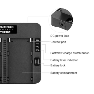 Image 2 - YONGNUO YN750C Lithium Battery Charger Dual Channel Battery Fast Charge Compatible for Sony NP F750 NP F950/B NP F530 NP F550