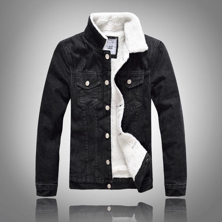 Manteau 7414 Hombre 5xl Jeans La 2018 Mince Doublure Épais Hommes D'hiver Taille Denim Chaqueta Chaude Laine Plus Noir Bomber Veste Brx7BnHO