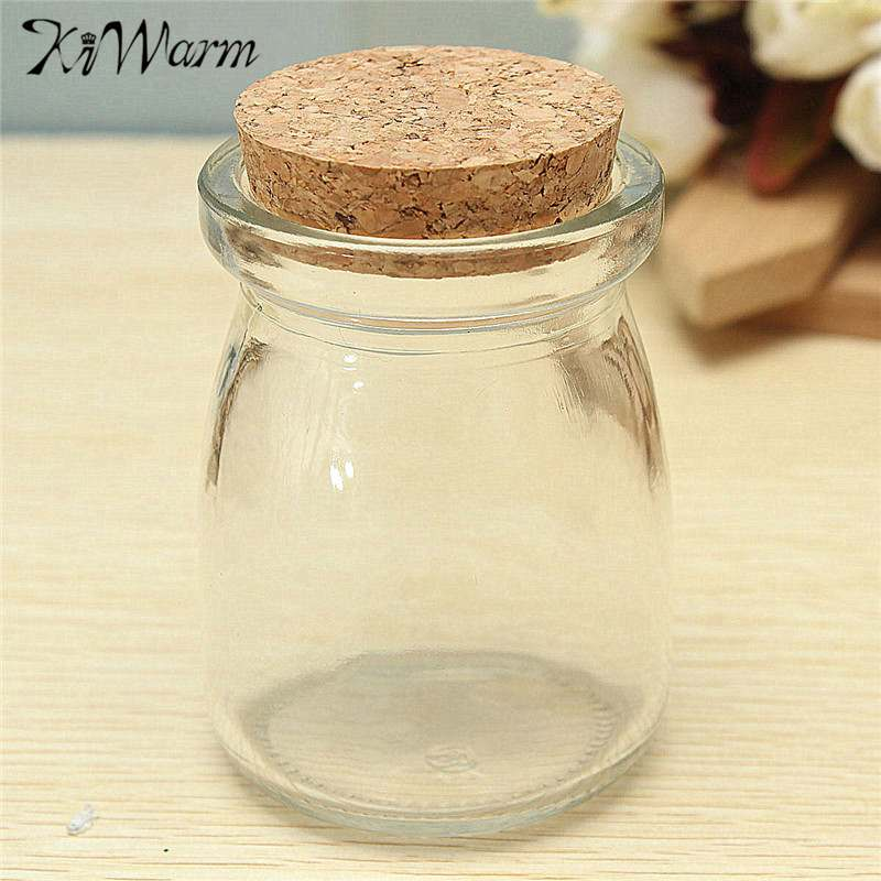 KiWarm 10Pcs DIY Home Decor 100ml Mini Small Clear Glass Storage Jars Bottle Vial Container Wishing Bottle with Cork Stopper