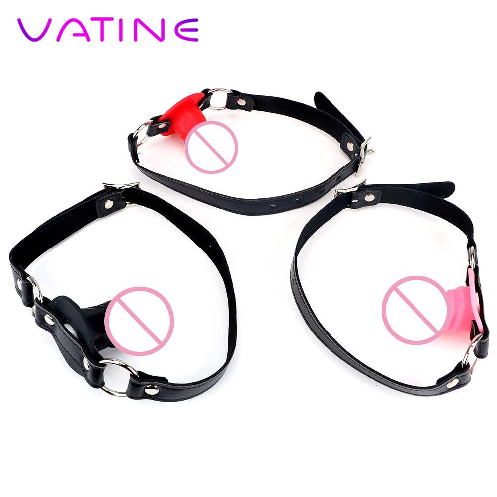 VATINE Small Dildo Mouth Gag Oral Fixation With Locking Buckles Silicone Fetish SM Bondage Sex Toys For Couples Penis Gag Slave