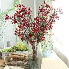 레드 베리 인공 말린 꽃 무리 신부 웨딩 파티 거품 꽃다발 테이블 장식 콩 지점 가짜 꽃 홈 장식