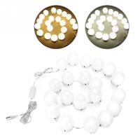 Makeup Mirror 20Pcs LED Light Bulbs Mirror Light Vanity Kit for Makeup Dressing USB Dimming Blubs Makeup Mirror