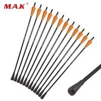 6/12/24pcs Crossbow Fiberglass Arrow 20 inch Diameter 8.8mm with Rubber Arrowtips for Bow Hunting Shooting Practice