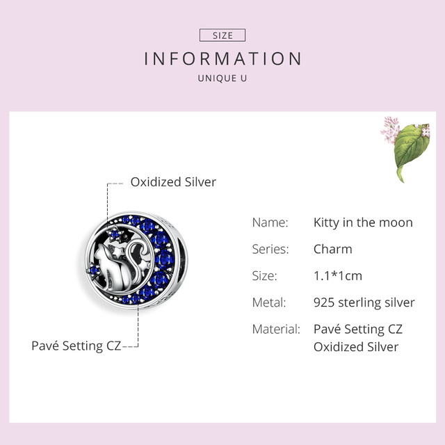 BAMOER Silver S925 Beads Sterling Silver 925 Blue Moon Naughty Cat Pet Charms for Bracelet Bangle DIY Jewelry Making SCC1204  My Pet World Store