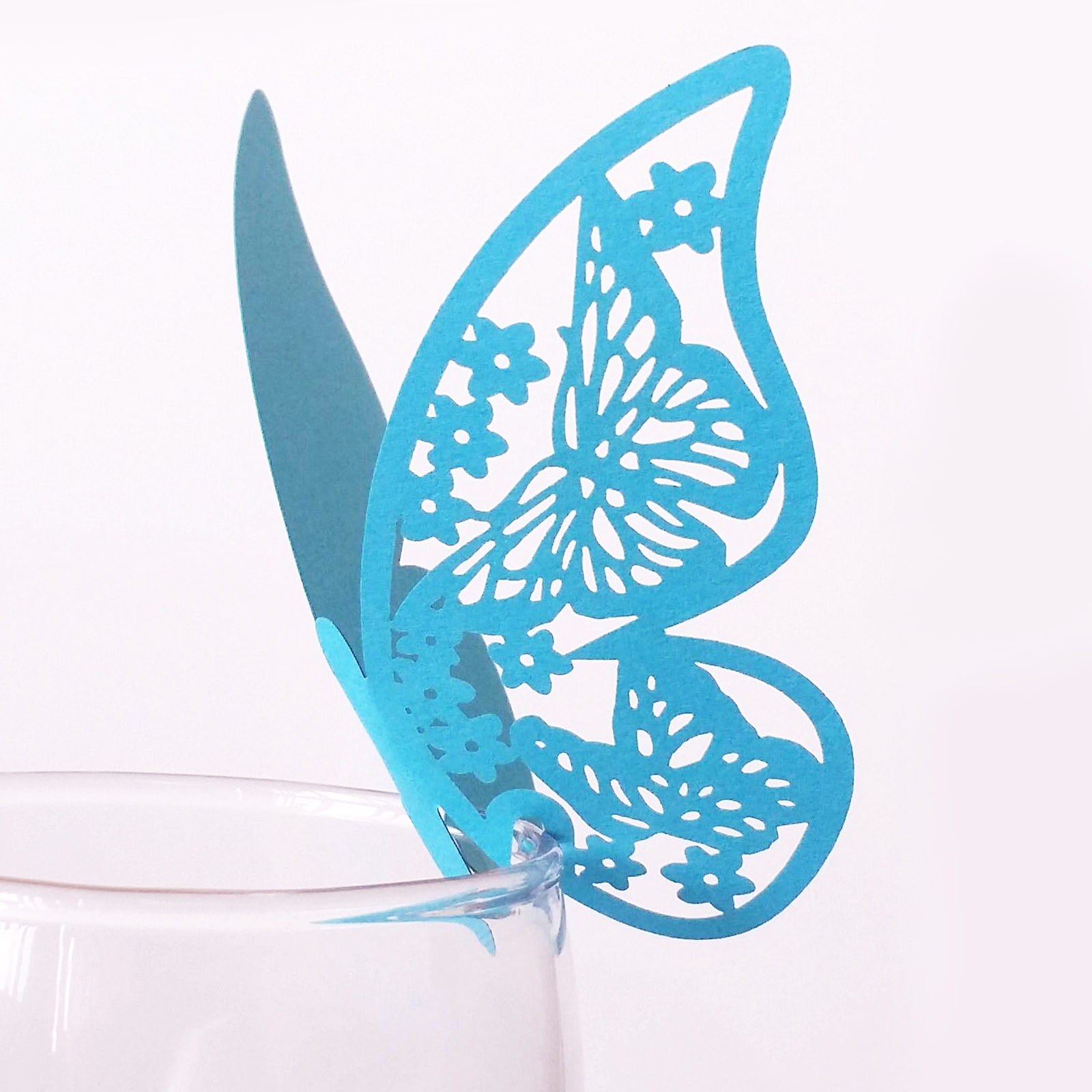 10pcs Butterfly Shaped Laser Cut Paper Place Card elegant Escort Card / Cup Card/ Wine Glass Card For Wedding Decoration Favors image