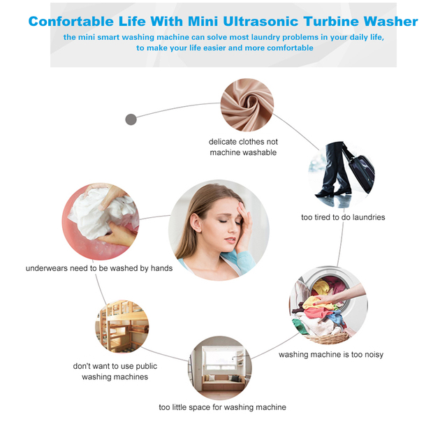 2in1 Portable Mini Washing Machine Ultrasonic Turbine Washer with USB Cable Convenient for Travel Business Trip