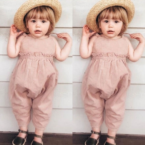 Adorable Hot 2019 NEW Toddler Kids Baby Girl Summer Solid Strap   Romper   Long Pants Outfits Clothes Sunsuit