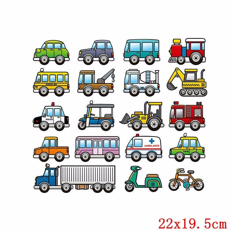 Prajna Cartoon Go Kart Car Patches Iron On Transfer For Clothing Patch Heat Thermal Transfer For Clothes Sticker DIY Accessory F in Patches from Home Garden